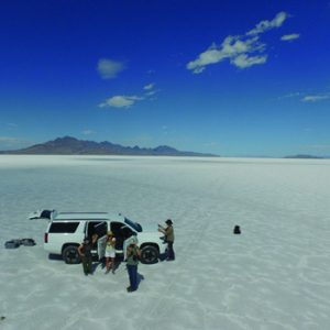 aerial photo of researchers on Bonneville Salt Flats