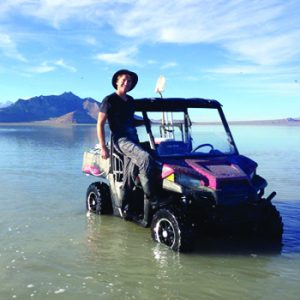 Evan Kipnis in buggy on Bonneville Salt Flats