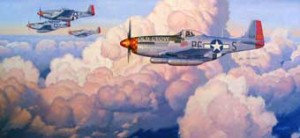 Illustration of P-51 Mustangs in Formation, Dave Meikle