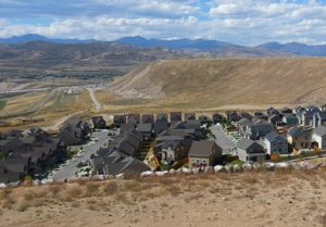 housing development encroaching on foothills