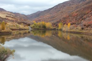 reservoir reflects fall foliage in the canyon