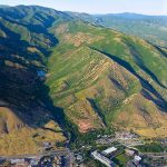 aerial view of Red Butte Canyon abutting University of Utah campus