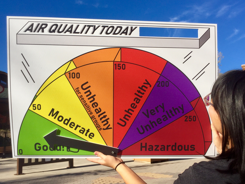 poster with indicator of air quality ranges from good to hazardous