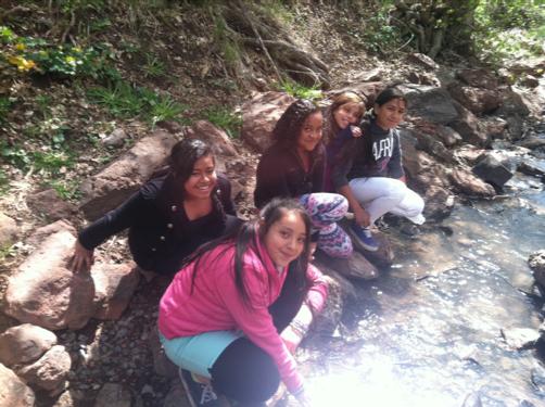 elementary students kneeling at side of creek